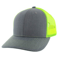 SP815 Blank Cotton Classic Mesh Trucker Cap (Heather Grey & Neon Yellow)
