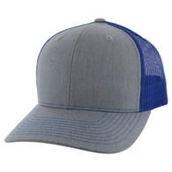 SP815 Blank Cotton Classic Mesh Trucker Cap (Heather Grey & Royal)