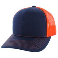 SP815 Blank Cotton Classic Mesh Trucker Cap (Navy & Orange)