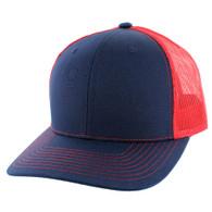 SP815 Blank Cotton Classic Mesh Trucker Cap (Navy & Red)