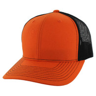 K815 Blank Cotton Classic Mesh Trucker Cap (Orange & Black)