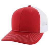 K815 Blank Cotton Classic Mesh Trucker Cap (Red & White)