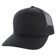 K815 Blank Cotton Classic Mesh Trucker Cap (Solid Black)
