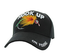 VM487 Hook Up Fishing Velcro Cap (Solid Black)