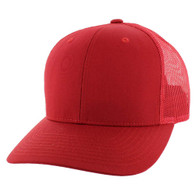 K815 Blank Cotton Classic Mesh Trucker Cap (Solid Red)