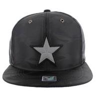 SM013 Star Snapback Cap (Solid Black Military Camo)