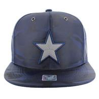 SM013 Star Snapback Cap (Solid Navy Military Camo)