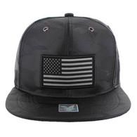 SM100 USA Flag Snapback Cap (Solid Black Military Camo)