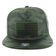 SM100 USA Flag Snapback Cap (Solid Olive Military Camo)