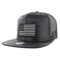 SM100 USA Flag Mesh Trucker Snapback Cap (Solid Black Military Camo)