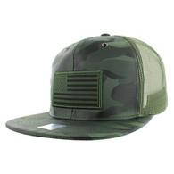 SM100 USA Flag Mesh Trucker Snapback Cap (Solid Olive Military Camo)