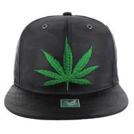 SM1002 Marijuana Snapback (Solid Black Military Camo)