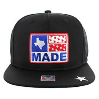 SM007 Texas Snapback Cap Hat (Solid Black)