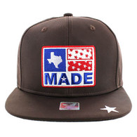 SM007 Texas Snapback Cap Hat (Solid Brown)