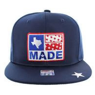SM007 Texas Snapback Cap Hat (Solid Navy)
