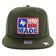 SM007 Texas Snapback Cap Hat (Solid Olive)