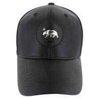 VM790 California Bear PU Baseball Cap (Solid Black)