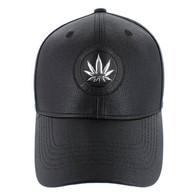 VM790 Marijuana PU Baseball Cap (Solid Black)