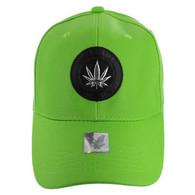 VM790 Marijuana PU Baseball Cap (Solid Green)