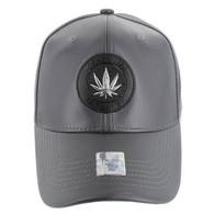 VM790 Marijuana PU Baseball Cap (Solid Grey)