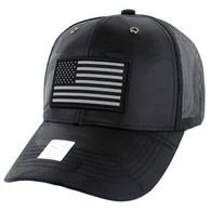 VM100 USA Flag Mesh Trucker Snapback Cap (Solid Black Military Camo)