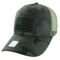 VM100 USA Flag Mesh Trucker Snapback Cap (Solid Olive Military Camo)