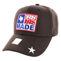 VM007 Texas Baseball Cap Hat (Solid Brown)
