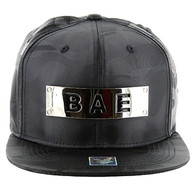 SM013 BAE Snapback (Solid Black Military Camo)