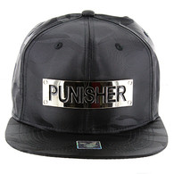 SM013 Punisher Snapback (Solid Black Military Camo)