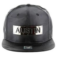 SM013 Austin Snapback (Solid Black Military Camo)