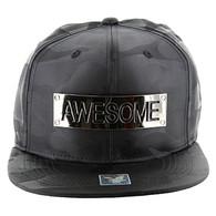 SM013 Awesome Snapback (Solid Black Military Camo)