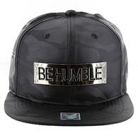 SM013 Be Humble Snapback (Solid Black Military Camo)