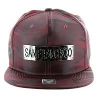 SM013 San Francisco Snapback (Solid Burgundy Military Camo)