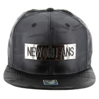 SM013 New Orleans Snapback (Solid Black Military Camo)