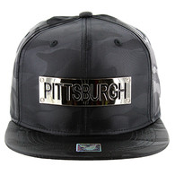 SM013 Pittsburgh Snapback (Solid Black Military Camo)