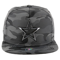 SM157 Star Snapback Cap Hat (Solid Grey Military Camo)