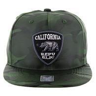 SM1003 Cali Bear Snapback (Solid Olive Military Camo)