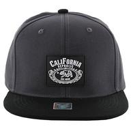 SM012 Cali Bear Snapback Hat Cap (Charcoal & Black)