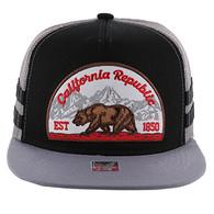 SM005 Cali Bear Snapback Hat Cap (Black & Grey)
