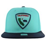SM843 California Bear Cotton Snapback Cap Hat (Sky Blue & Navy)