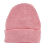 "WB080 Plain 12"" Long Beanie (Solid Light Pink)"