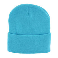 "WB080 Plain 12"" Long Beanie (Solid Aqua)"