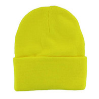 "WB080 Plain 12"" Long Beanie (Solid Neon Yellow)"