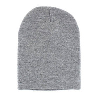 "WB090 Plain 8"" Short Beanie (Solid Heather Grey)"