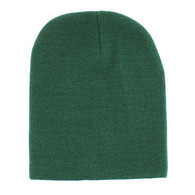 "WB090 Plain 8"" Short Beanie (Solid Dark Green)"