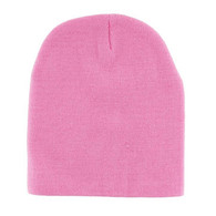 "WB090 Plain 8"" Short Beanie (Solid Light Pink)"