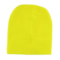 "WB090 Plain 8"" Short Beanie (Solid Neon Yellow)"