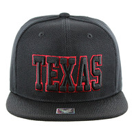 SM013 Texas Whole Mesh Snapback (Solid Black) - Red Stitch