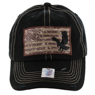 BM001 USA Flag With Eagle Buckle Cap (Solid Black)