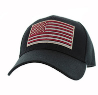 VM367 Kids American USA Flag Velcro Cap (Solid Black)